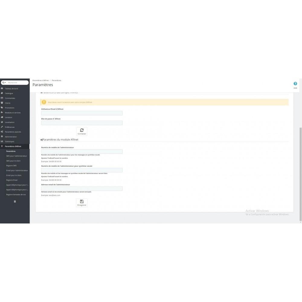 module - E-mails & Notifications - Notifications SMS, email et voix - Afilnet - 2
