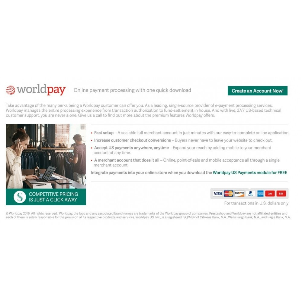module - Creditcardbetaling of Walletbetaling - Worldpay US Payments - 1