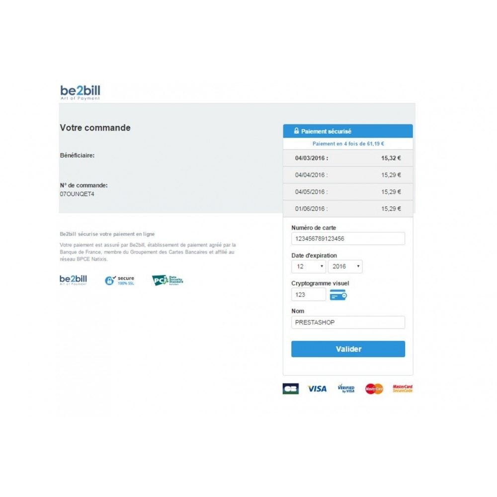module - Paiement par Carte ou Wallet - Be2bill - Le service de paiement orienté CONVERSION - 6