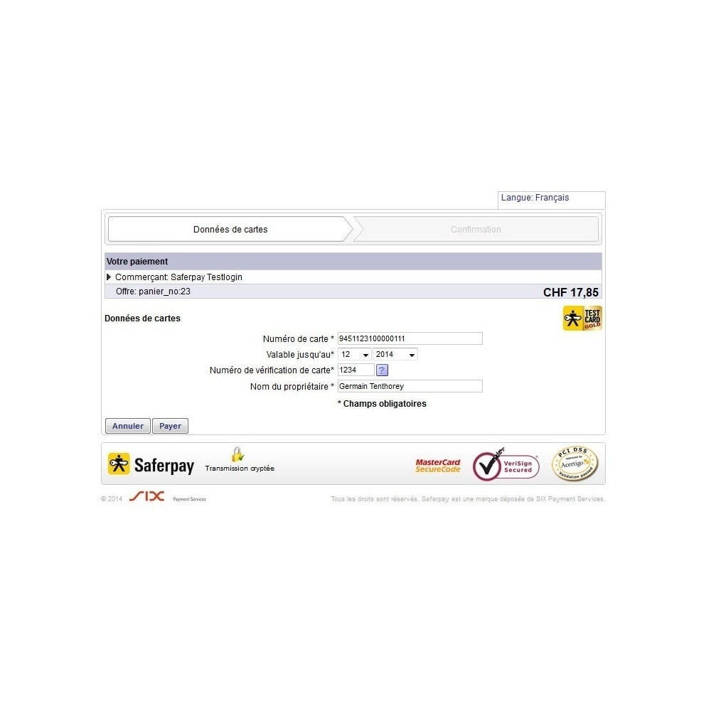 module - Zahlung per Kreditkarte oder Wallet - Saferpay / Six Payment Services - 5