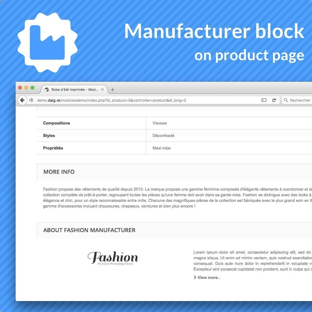 module - Altre informazioni & Product Tab - Manufacturer bloc on product pages - 1