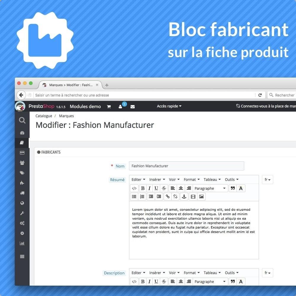 module - Information supplémentaire & Onglet produit - Bloc fabricant sur la fiche produit - 3