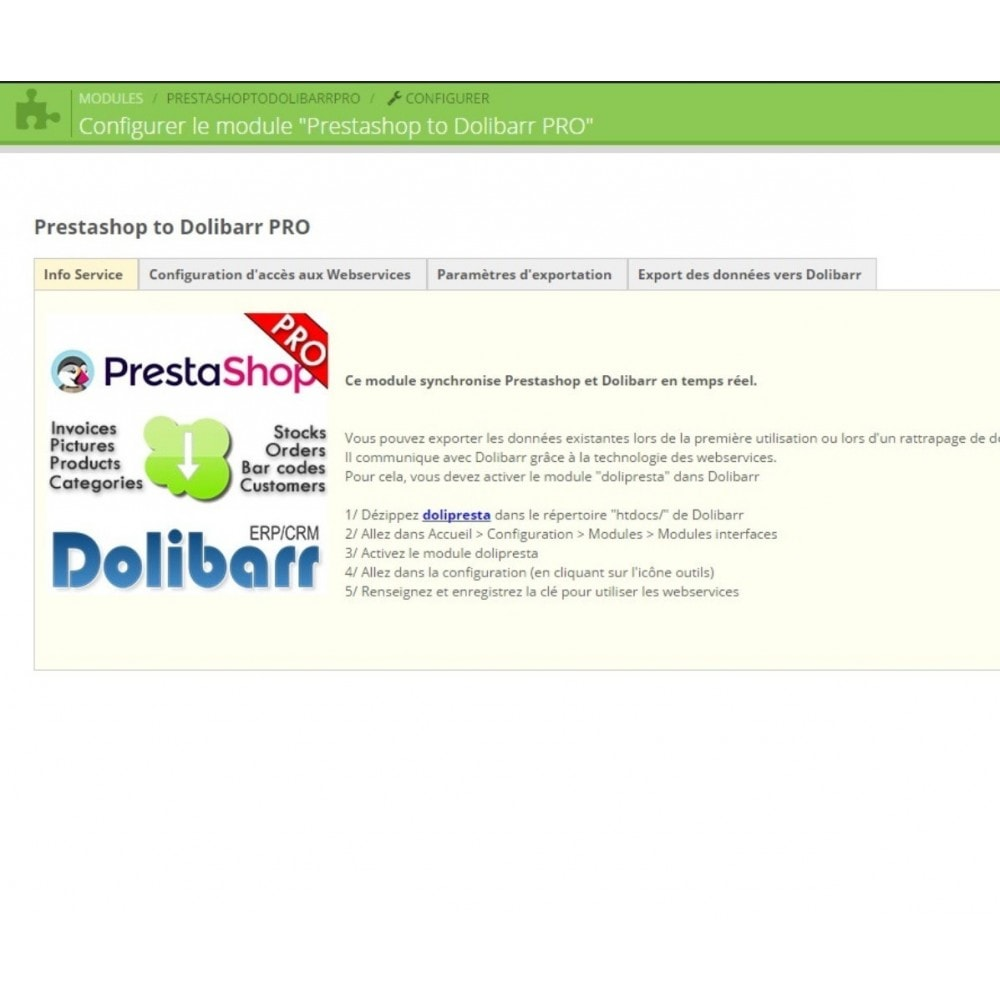 module - Connexion à un logiciel tiers (CRM, ERP...) - Prestashop to Dolibarr PRO - 3