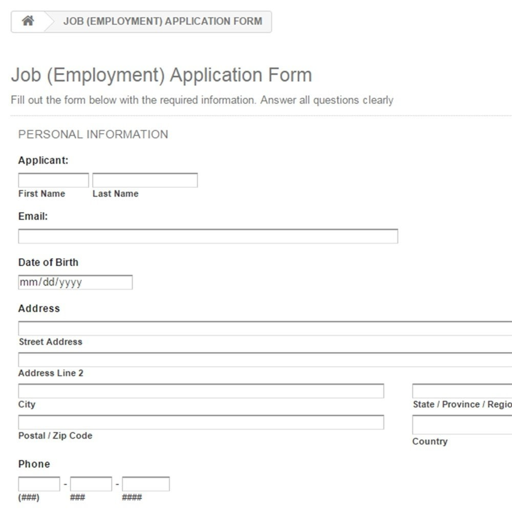 job employment form - Vaydile.euforic.co