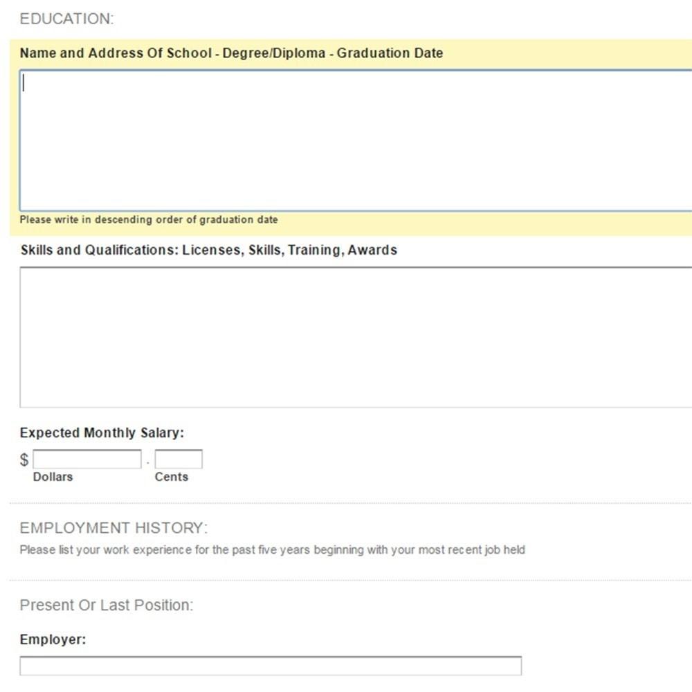 module - Formulário de contato & Pesquisas - Job (Employment) Application Form - 7