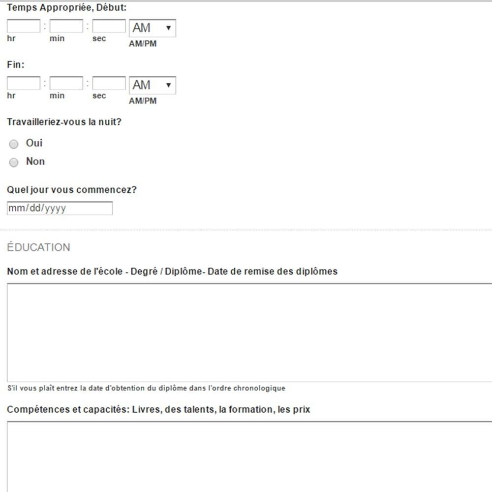 module - Formulaires de Contact & Sondages - Formulaire de Demande d'Emploi - 6
