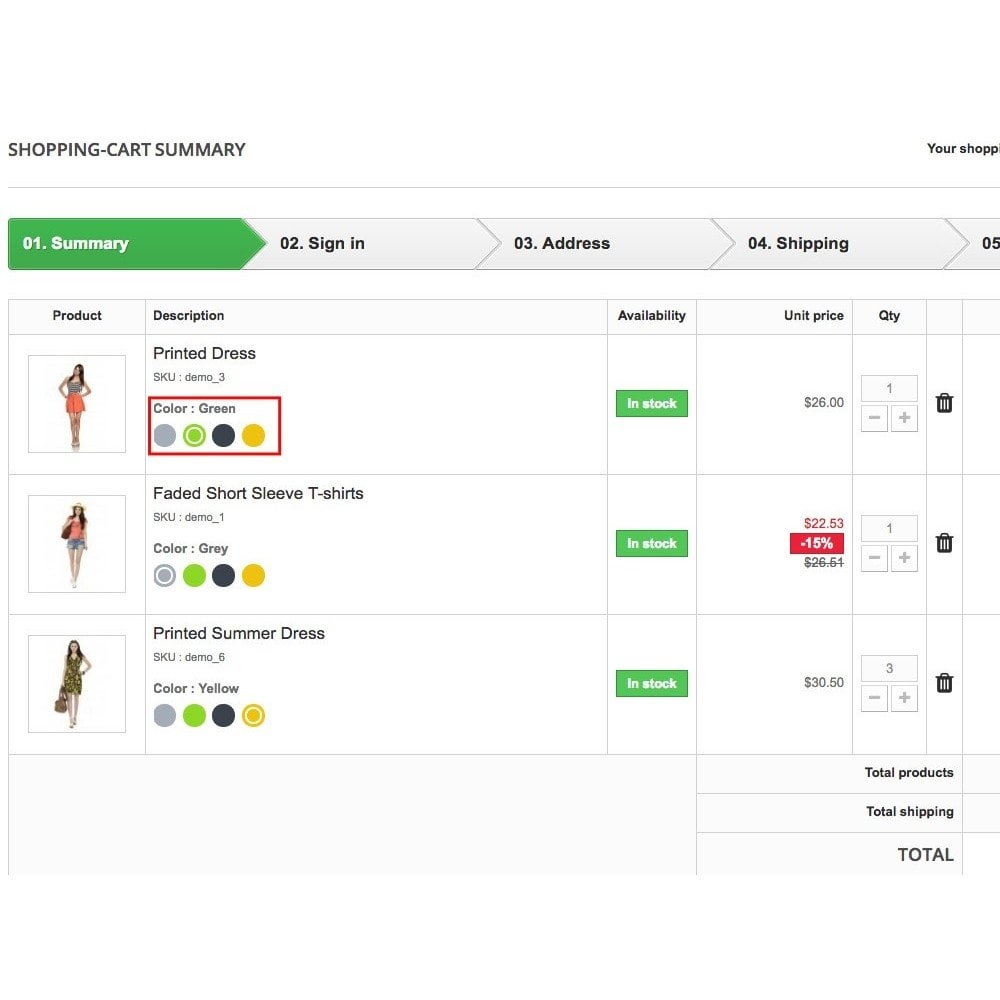 module - Combinations & Product Customization - Dynamic attributes in cart - 1