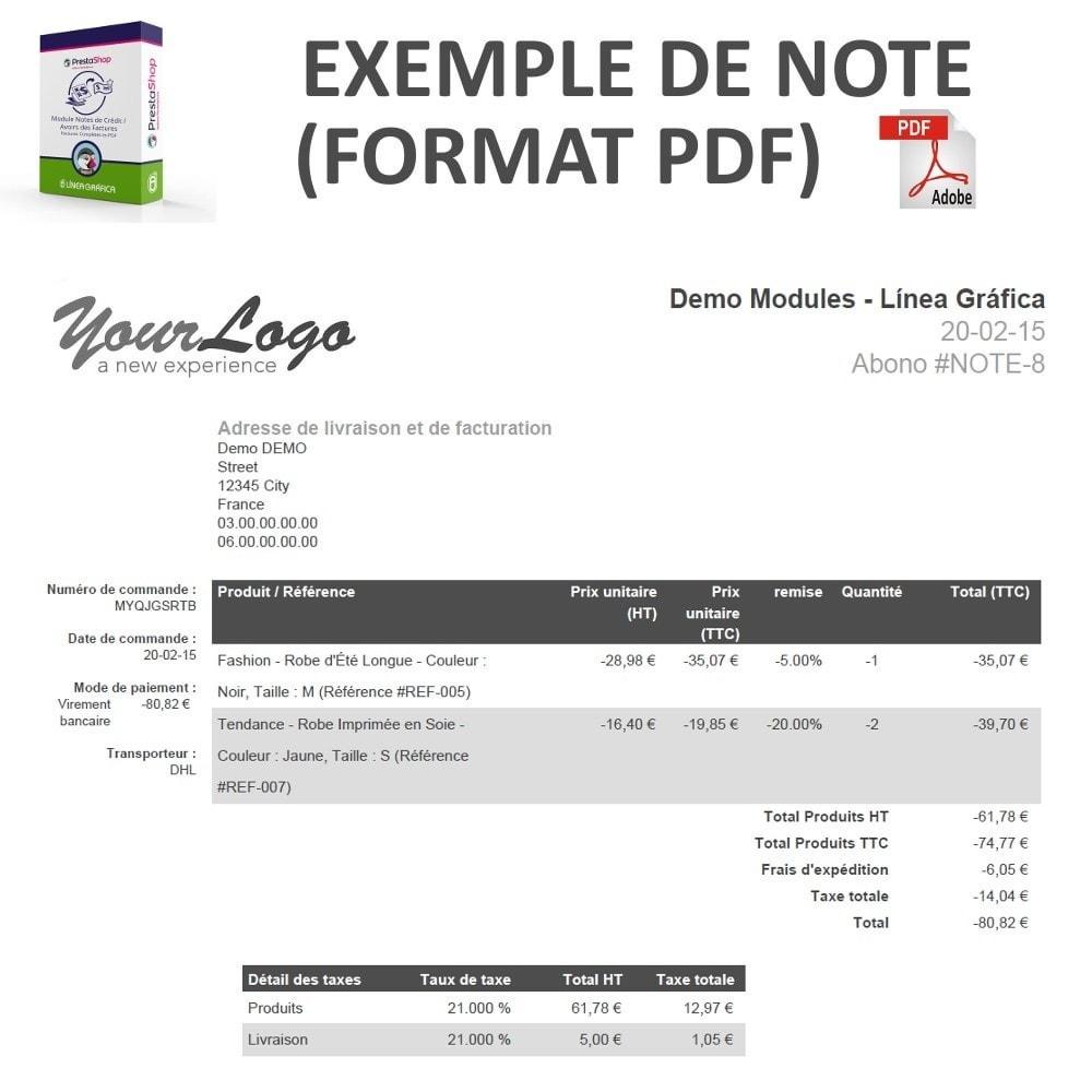 module - Comptabilité & Facturation - Notes de Crédit / Avoirs des Factures Complètes en PDF - 3