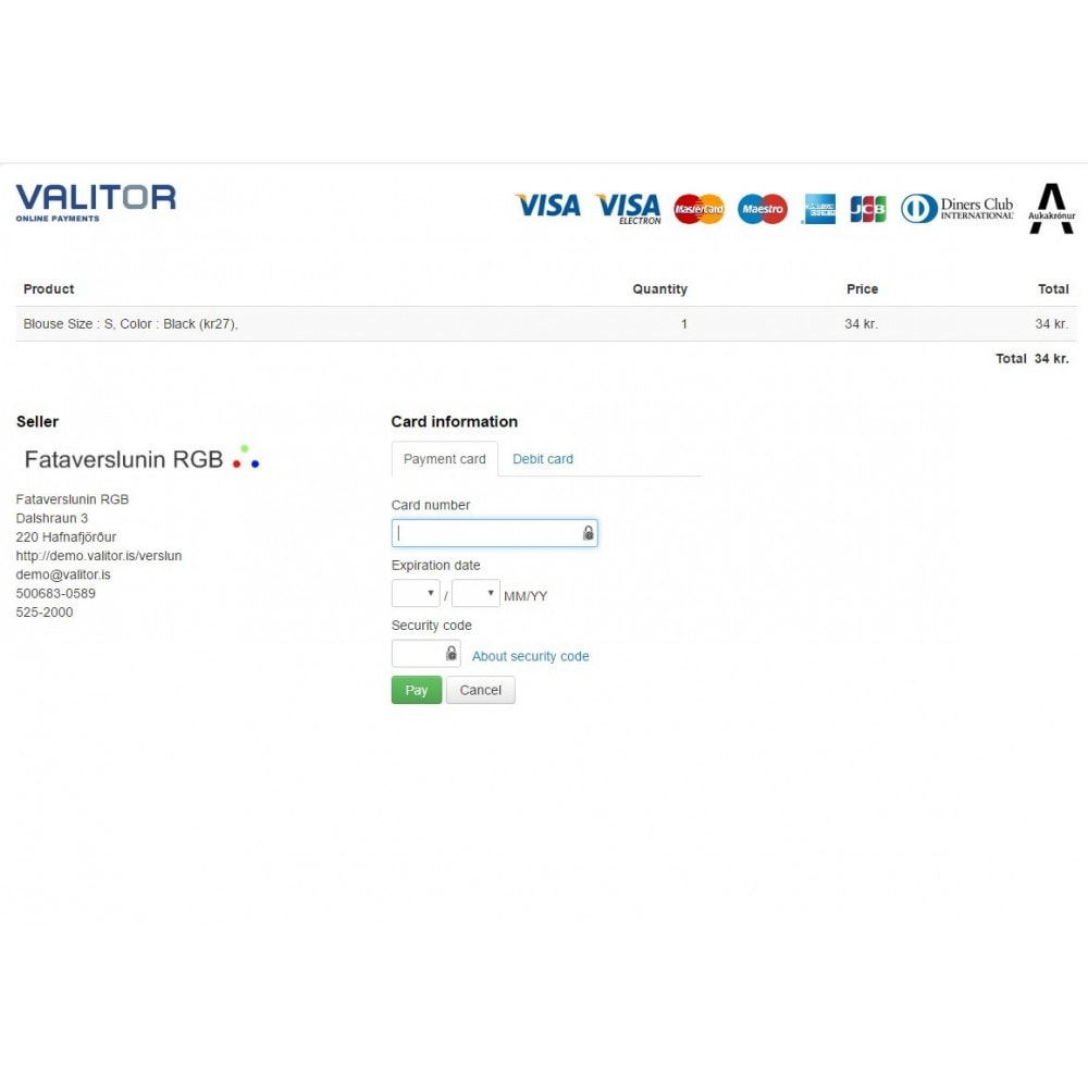 module - Payment by Card or Wallet - Valitor Web Payments - 3