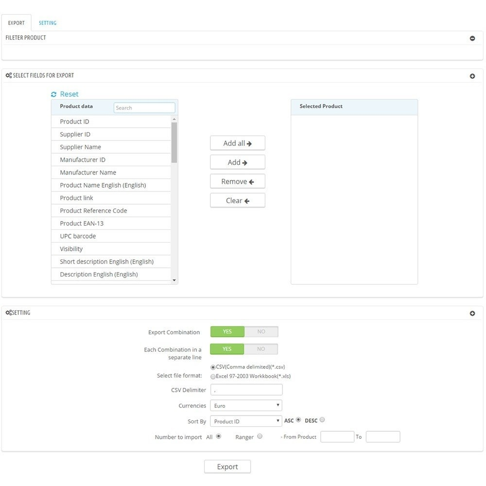 module - Importação & exportação de dados - Filter & Export Product to CSV/Excel File Pro - 3