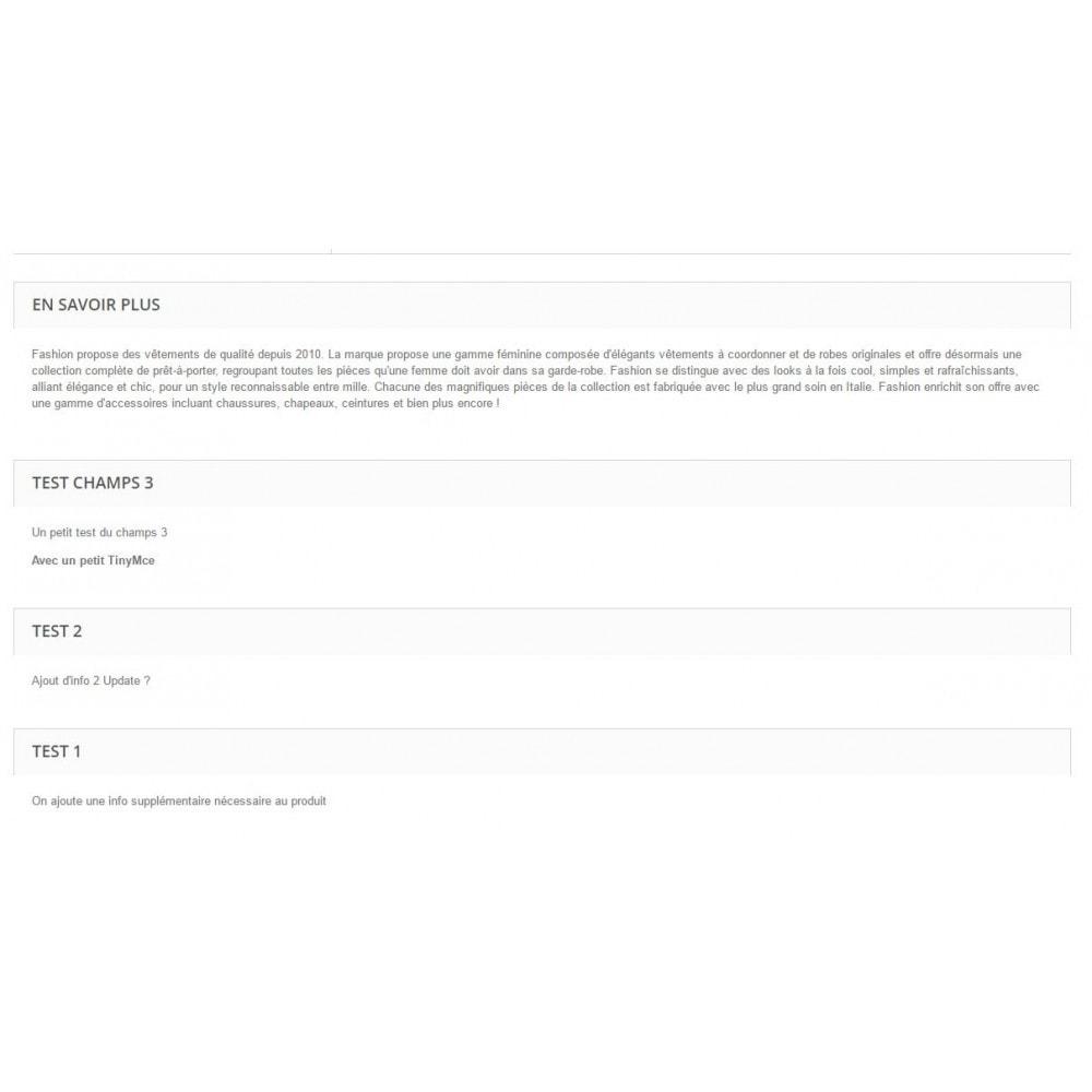 module - Informaciones adicionales y Pestañas - additional product fields - 2