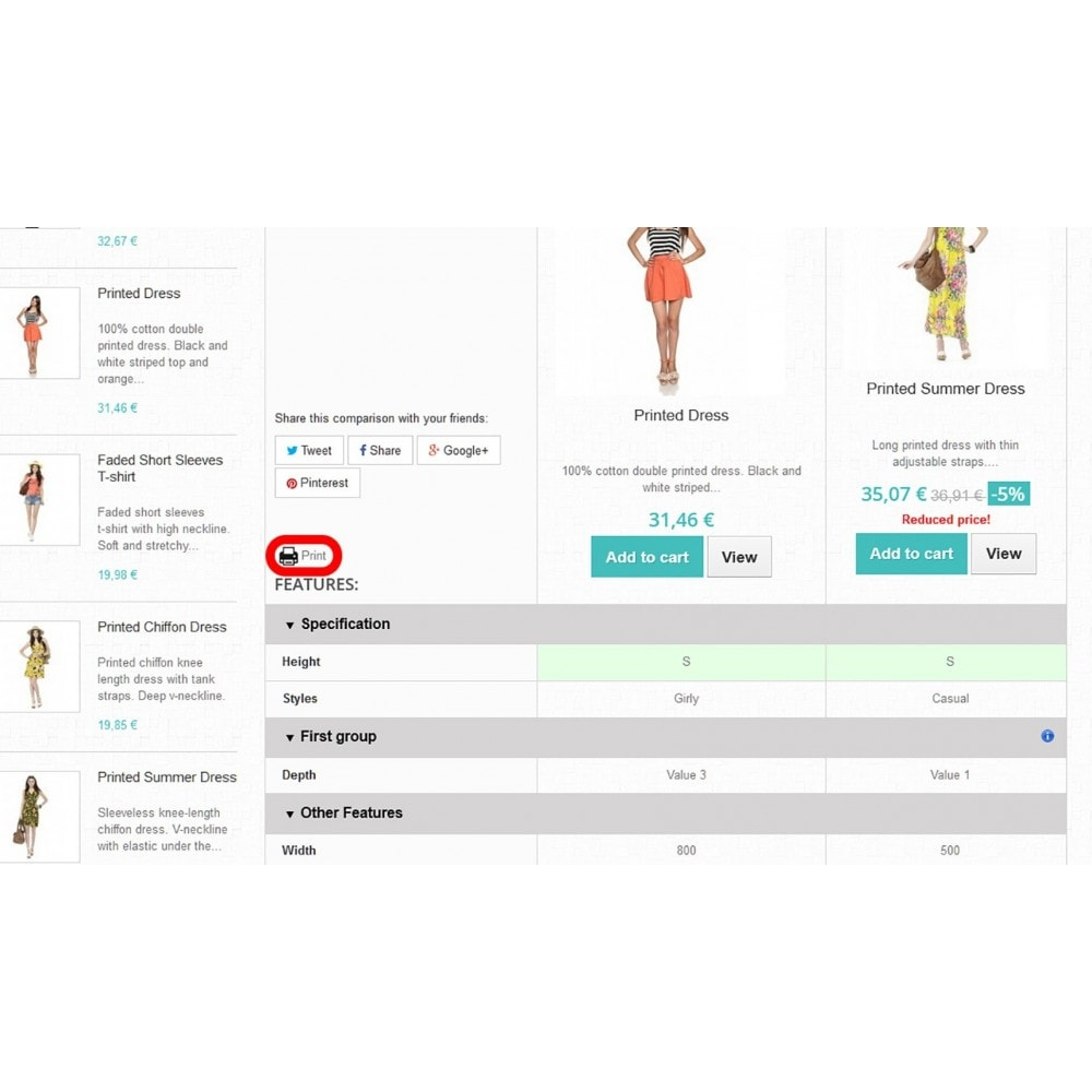 module - Price Comparison - Product Comparison Highlighter/Print Compare Area Only - 5