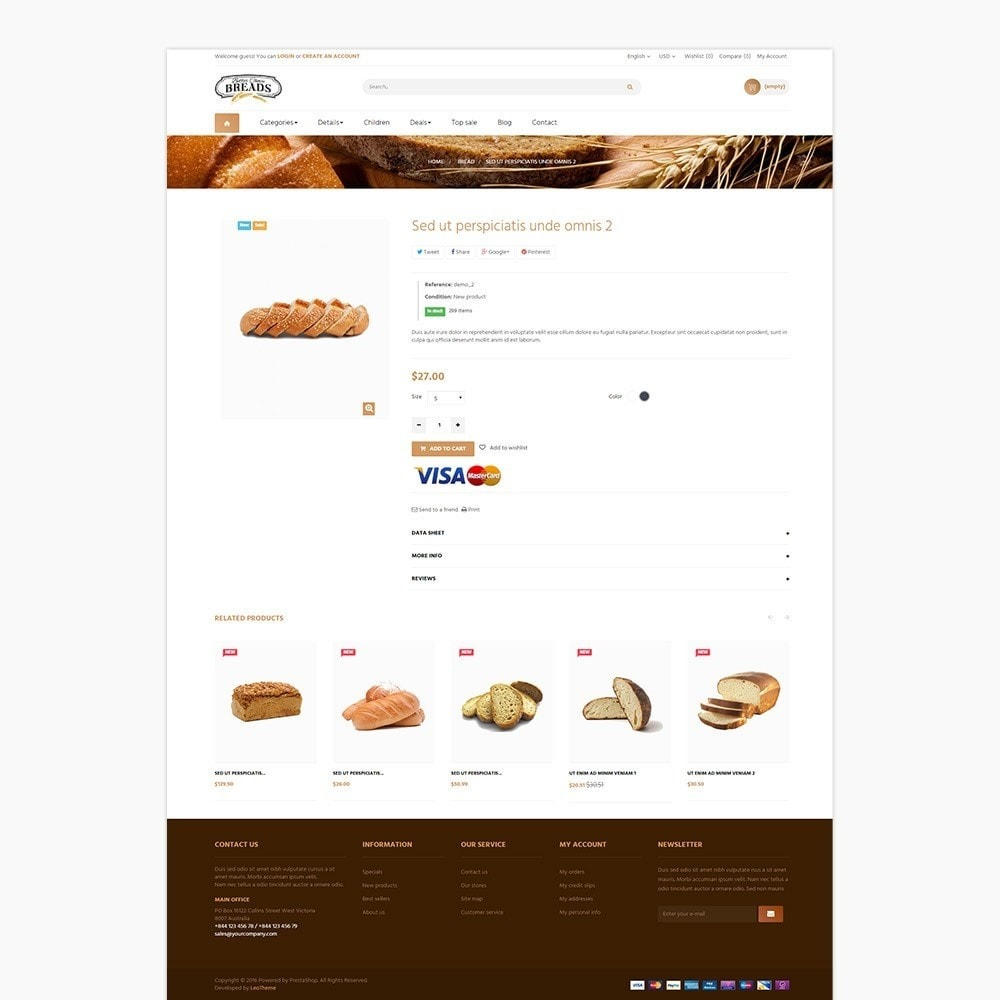 theme - Alimentation & Restauration - Leo Bread - Food & Loaf PrestaShop Theme - 3