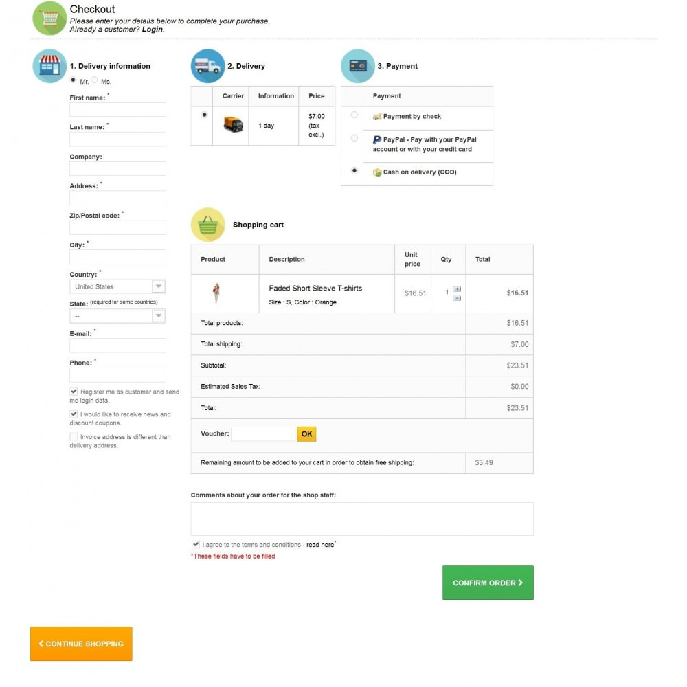 module - Процесс заказа - EasyPay One Page Checkout - 1