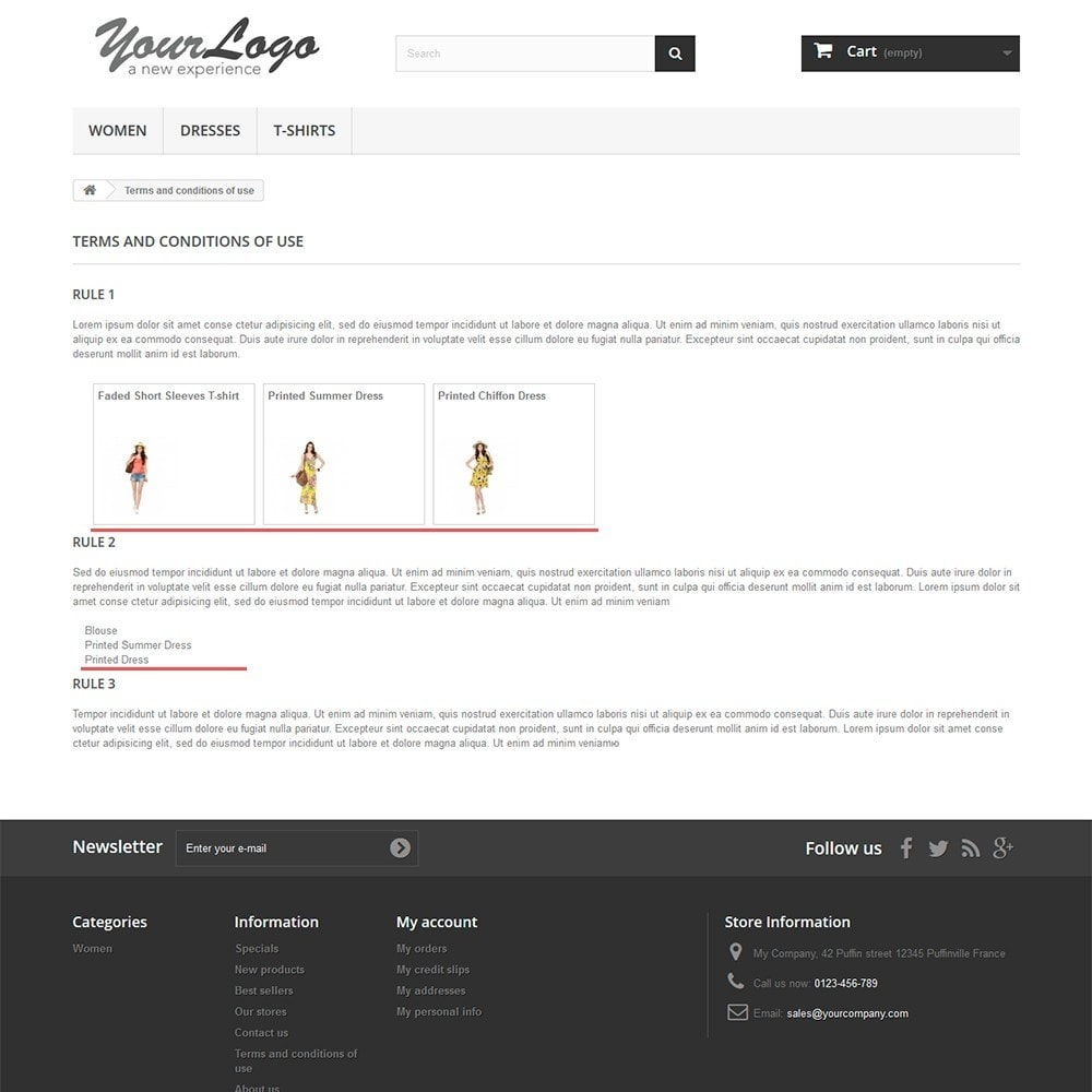 module - Personnalisation de Page - Products in CMS pages - 2