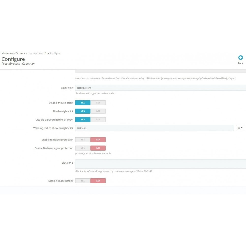 module - Sécurité & Accès - PrestaProtect Captcha+ / malware scanner / bot blocker - 3