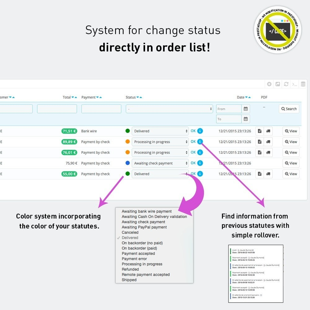 module - Быстрое & массовое редактирование - More infos orders on flyover and bulk change states - 2