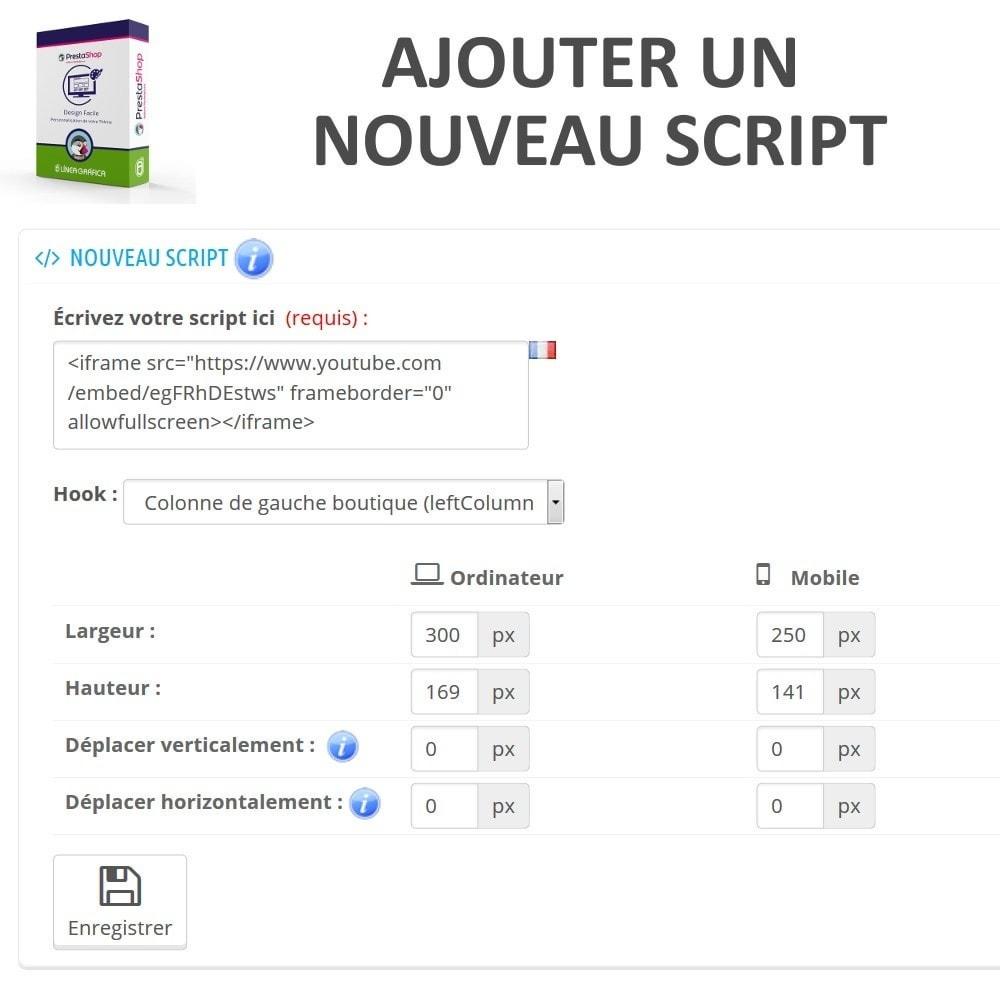 module - Personnalisation de Page - Design Facile - Ajouter Images, Textes et Scripts - 5