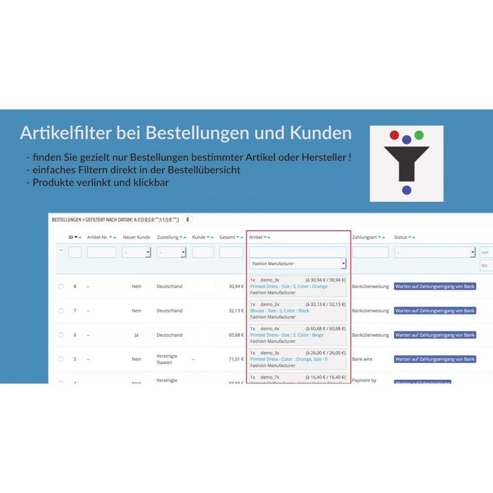 module - Auftragsabwicklung - Artikelfilter bei Bestellungen und Kunden - 1