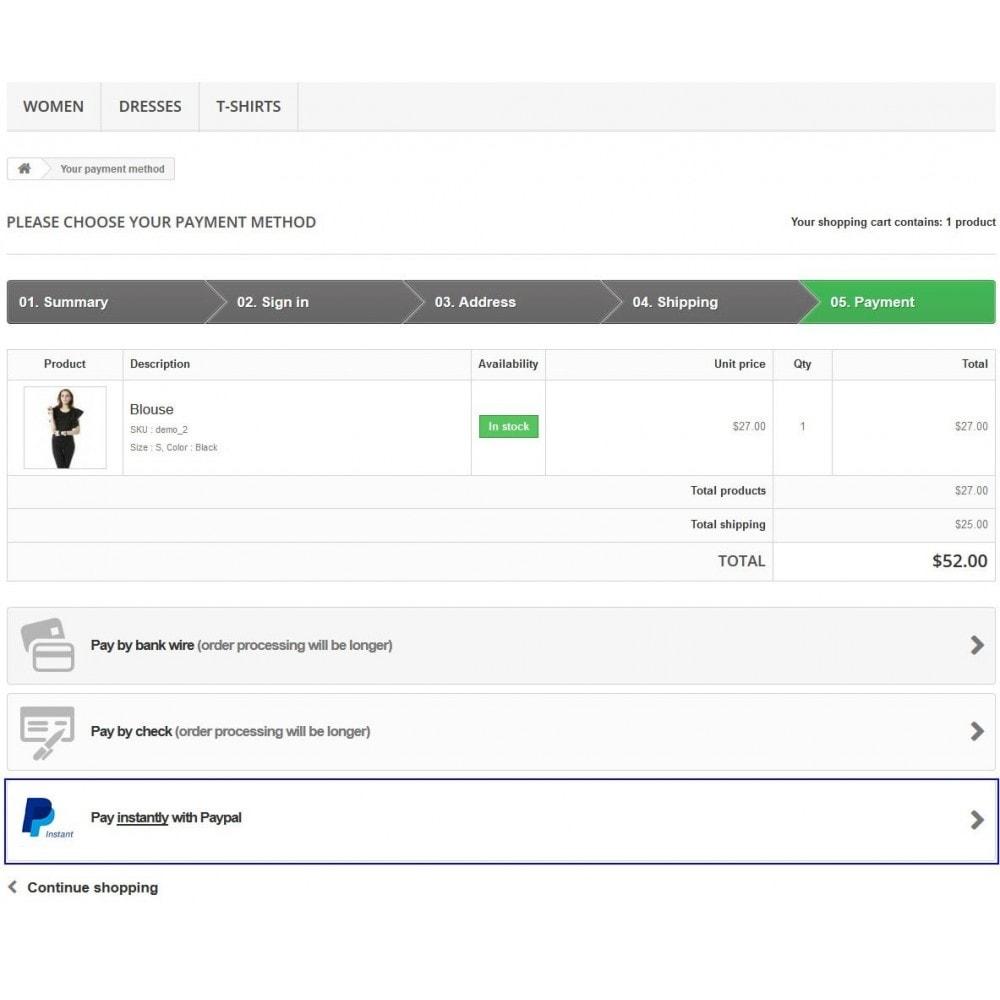 module - Express Checkout Process - Paypal Instant Checkout - 13