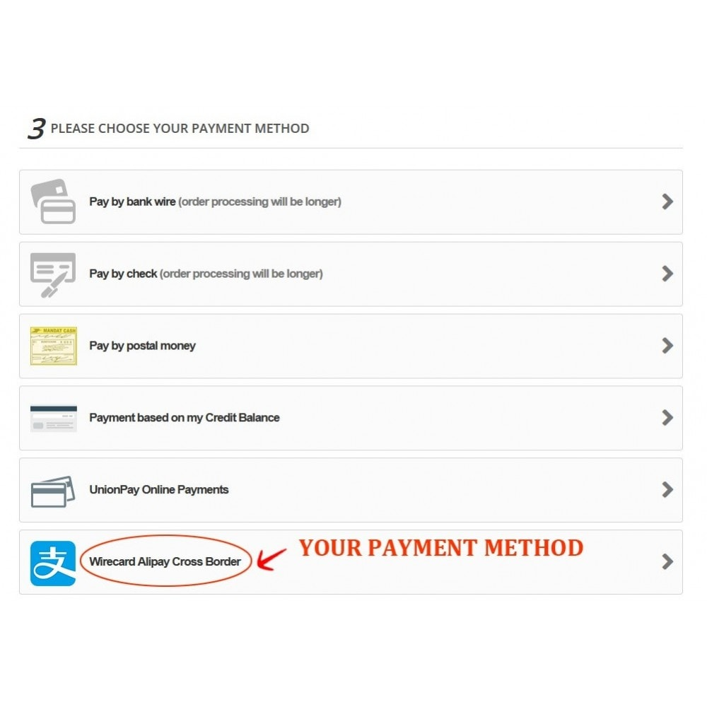 module - Pagamento con Carta di Credito o Wallet - Wirecard Ali Pay Cross Border Payment - 3