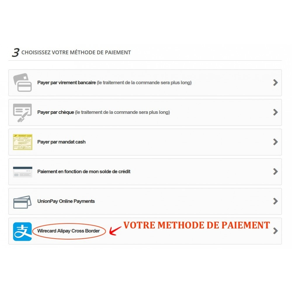 module - Paiement par Carte ou Wallet - Paiement Wirecard Ali Pay Cross Border - 3