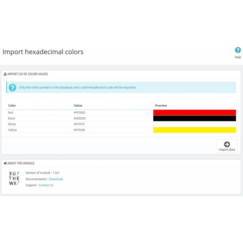 module - Versies & Personalisering van producten - Import colors for declinations attributes - 2