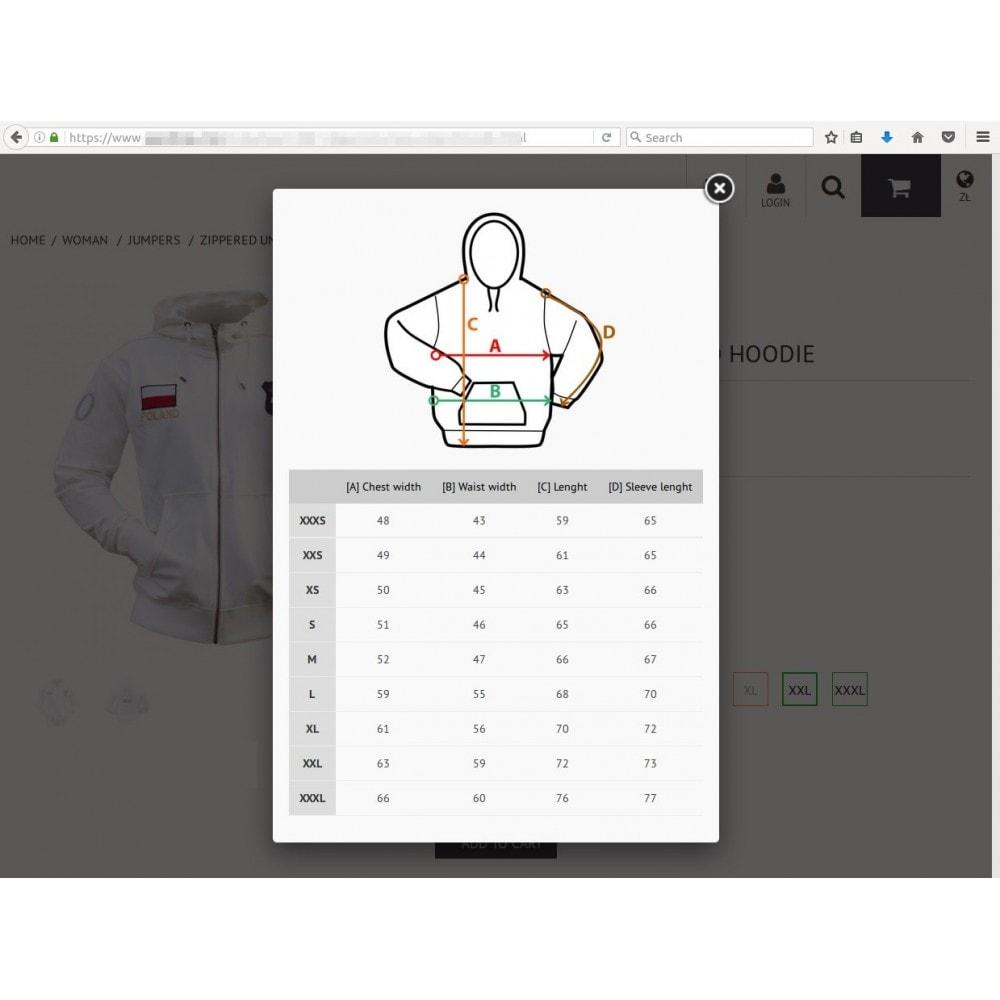 module - Rozmiary i jednostki - Moduł tabelek rozmiarowych - Sir Size Charts - 1