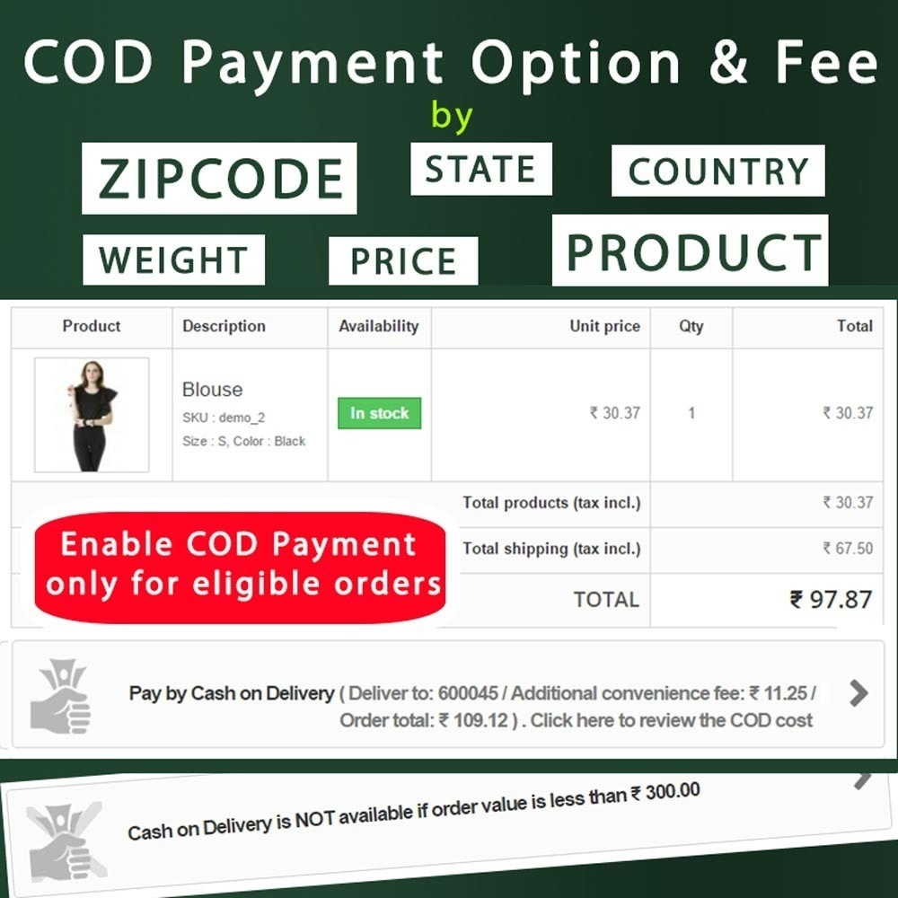 module - Pagamento alla Consegna (in contrassegno) - Cash on Delivery COD & Shipping Fee by Zipcode, Product - 2