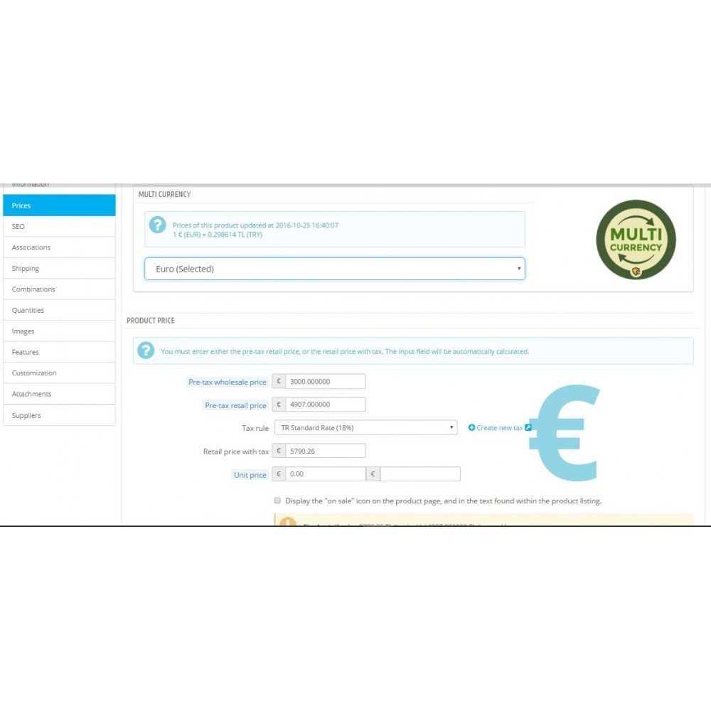 module - Gestione Prezzi - Multi Currency Price Saver and Product Price Updater - 2