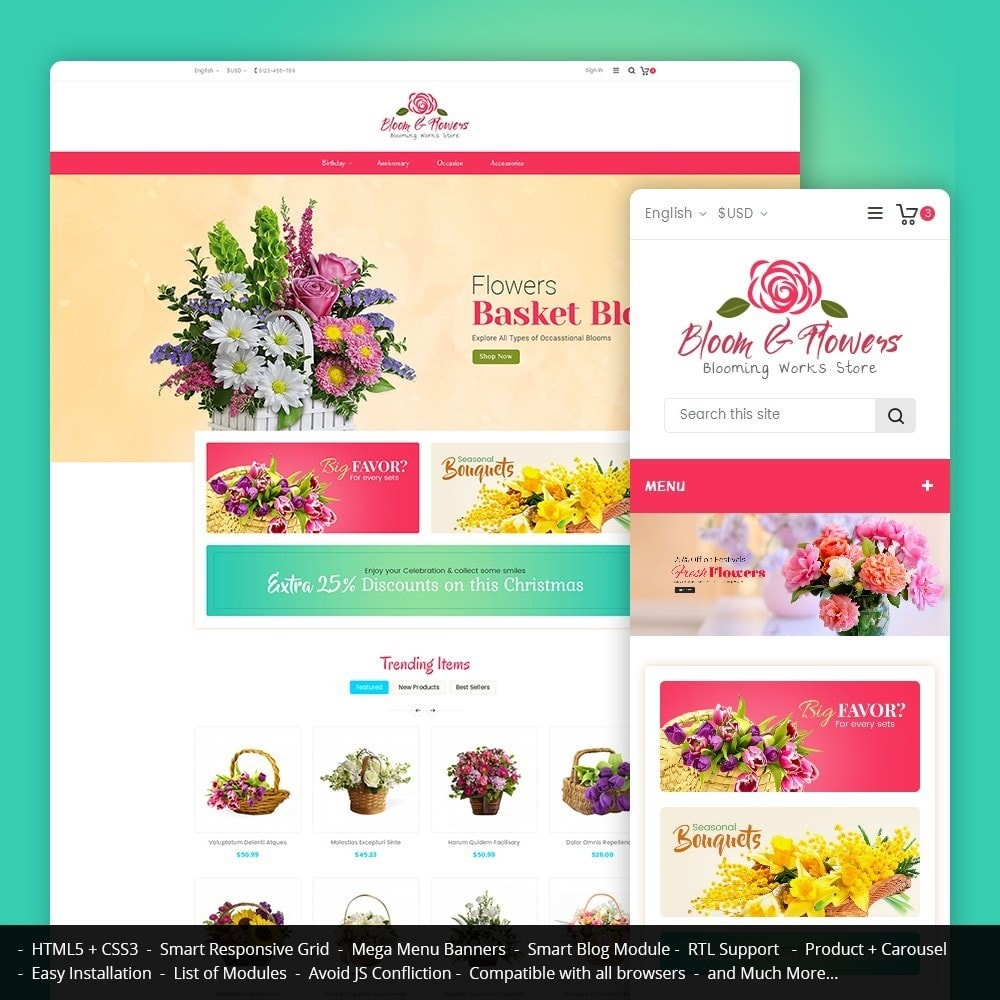 theme - Gifts, Flowers & Celebrations - Bloom Flower Store - 1
