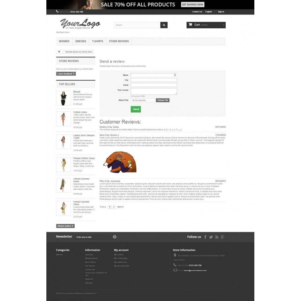 module - Comentarios de clientes - Reviews about shop - 5