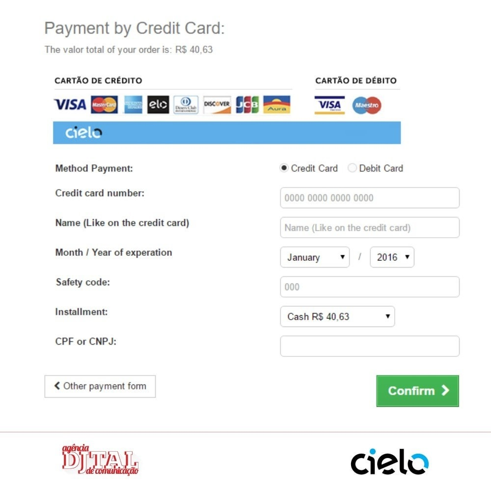 module - Creditcardbetaling of Walletbetaling - Checkout Cielo - 5