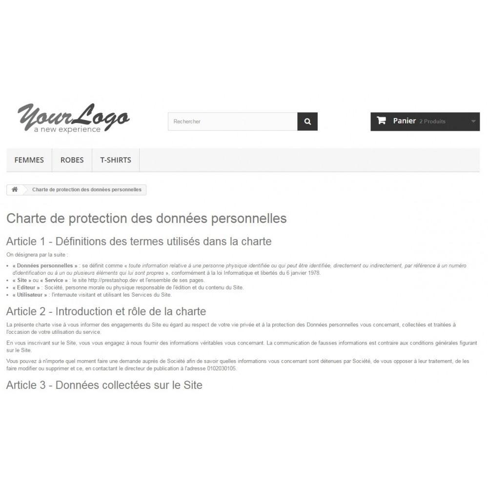 module - Législation - Conditions Générales de Vente, Mentions et Charte CNIL - 9