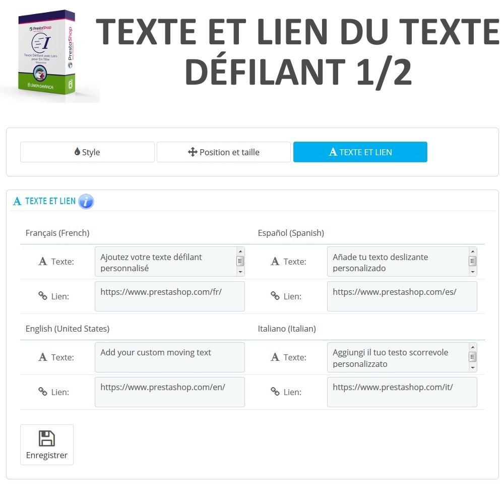 module - Blocs, Onglets & Bannières - Texte Défilant avec Lien pour En-Tête - 7