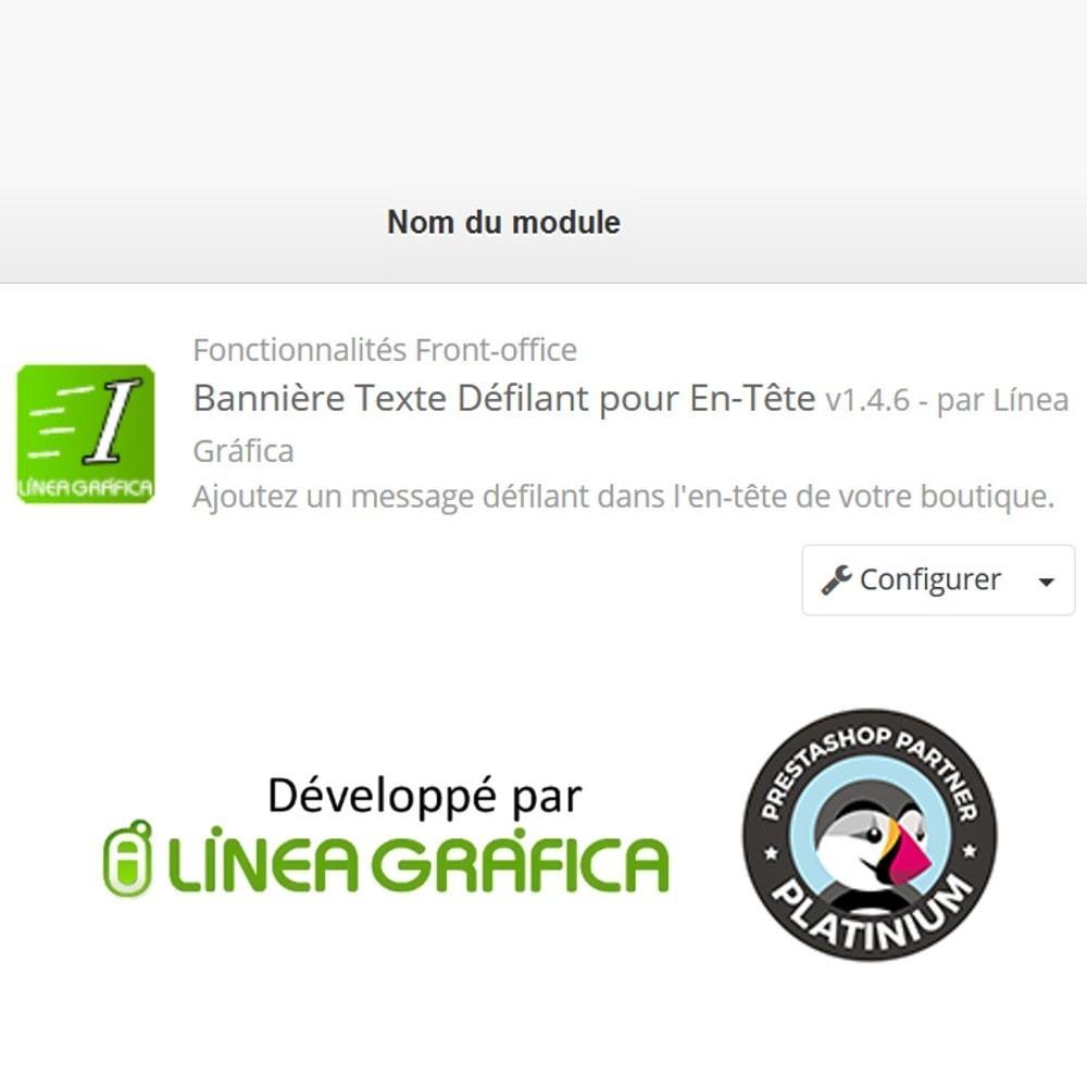 module - Blocs, Onglets & Bannières - Texte Défilant avec Lien pour En-Tête - 11