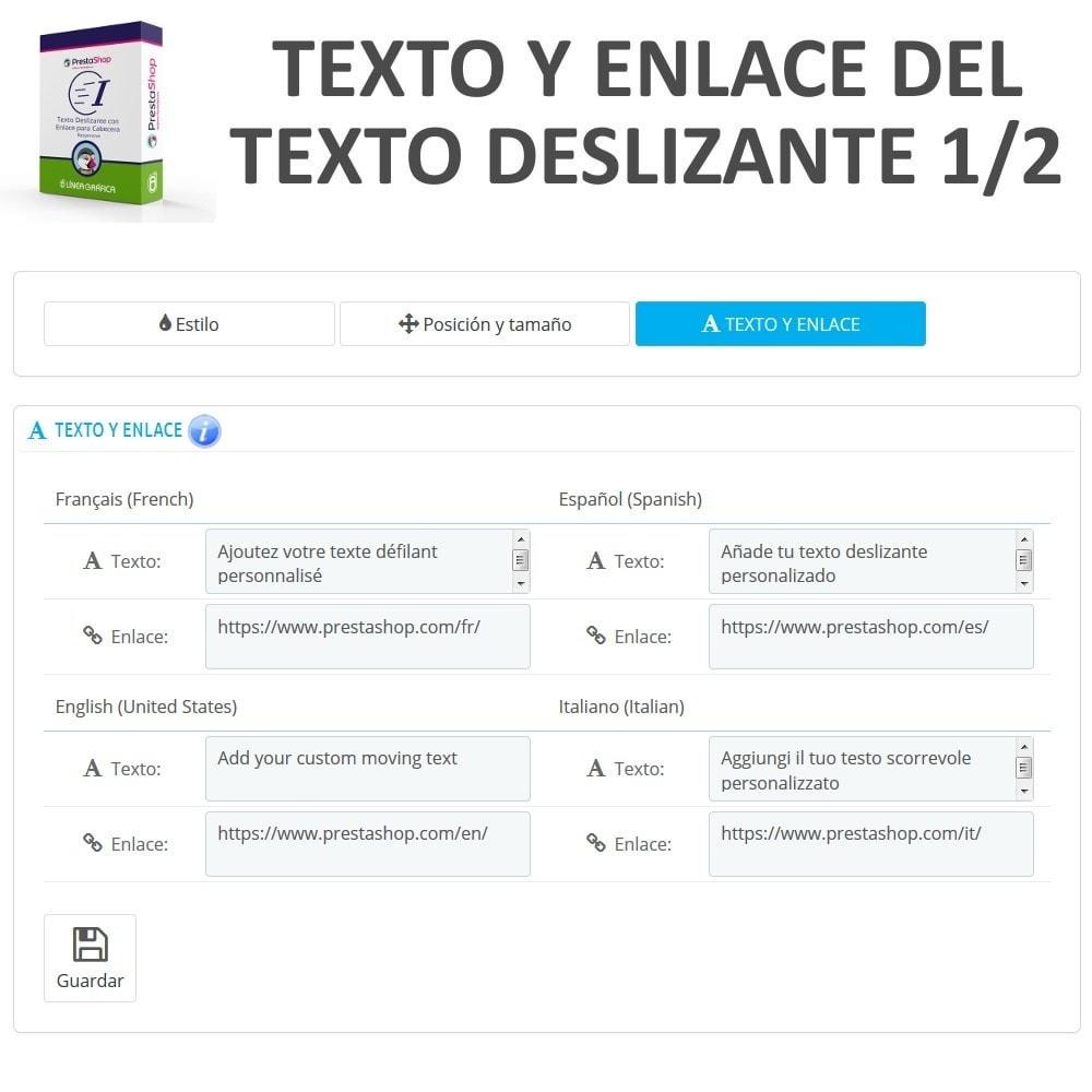 module - Bloques, Pestañas y Banners - Texto Deslizante con Enlace para Cabecera - 7