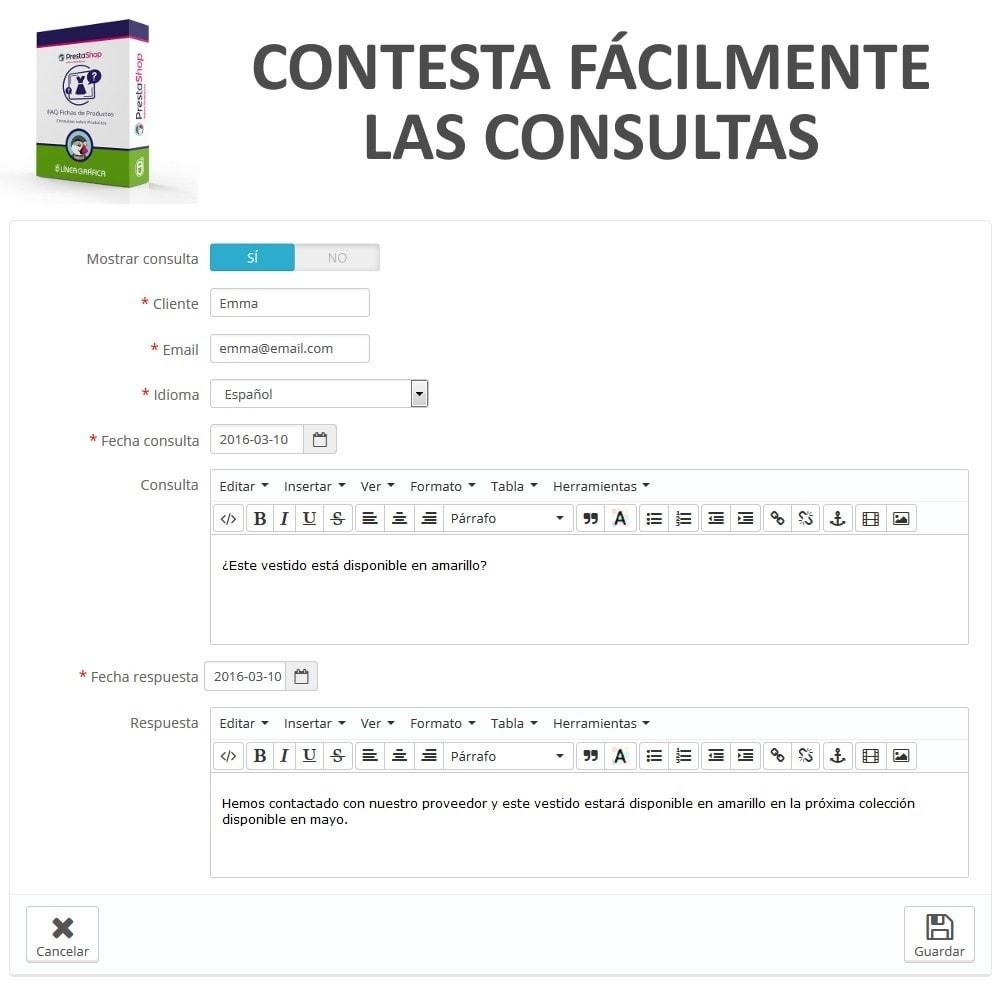 module - Preguntas Frecuentes - FAQ Fichas de Productos -  Preguntas frecuentes - 11