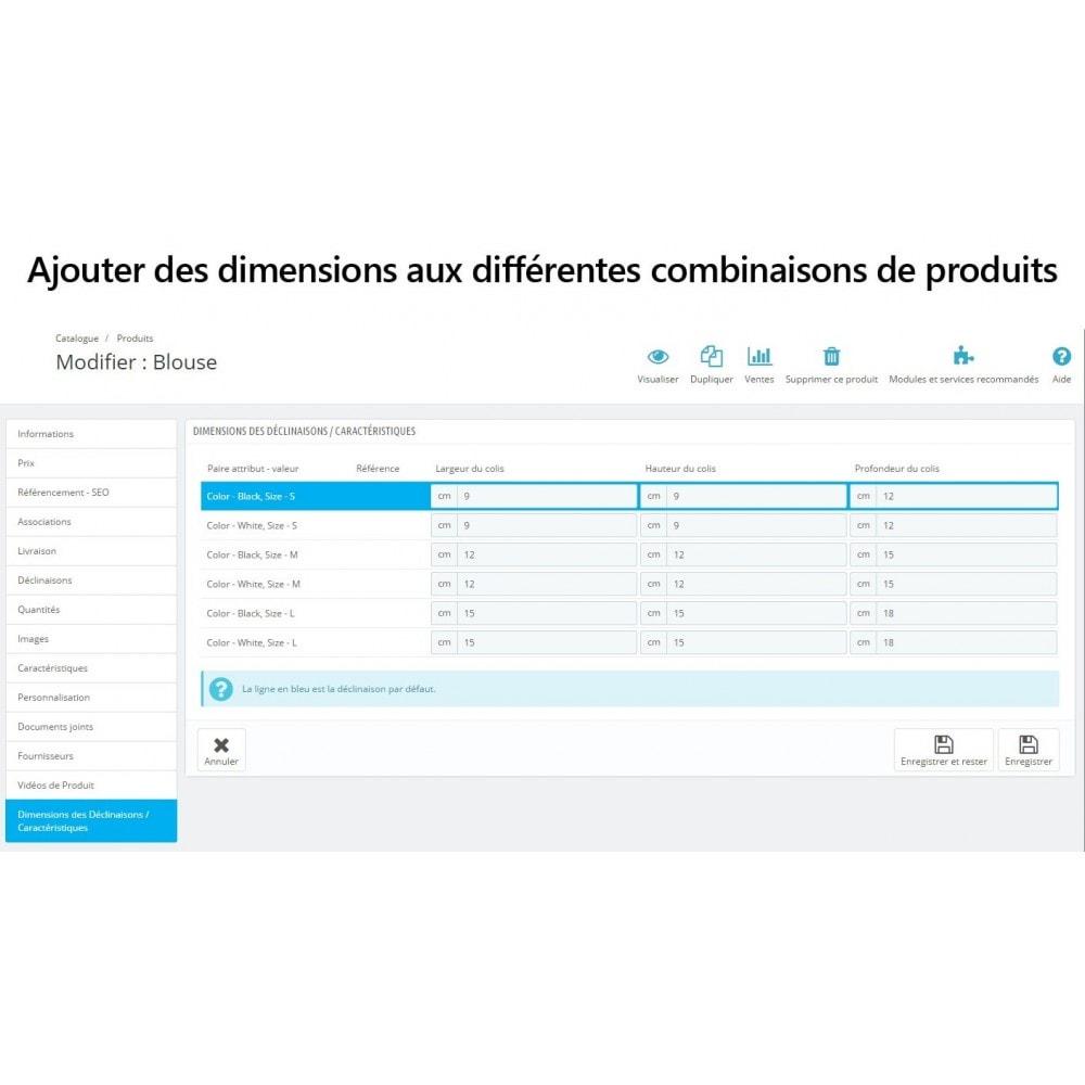 module - Tailles & Dimensions - Dimensions des déclinaisons/caractéristiques de produit - 2