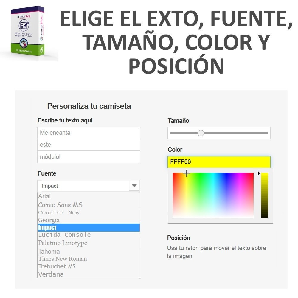 module - Combinaciones y Personalización de productos - Personalización Producto - Añadir Texto sobre Imagen - 3