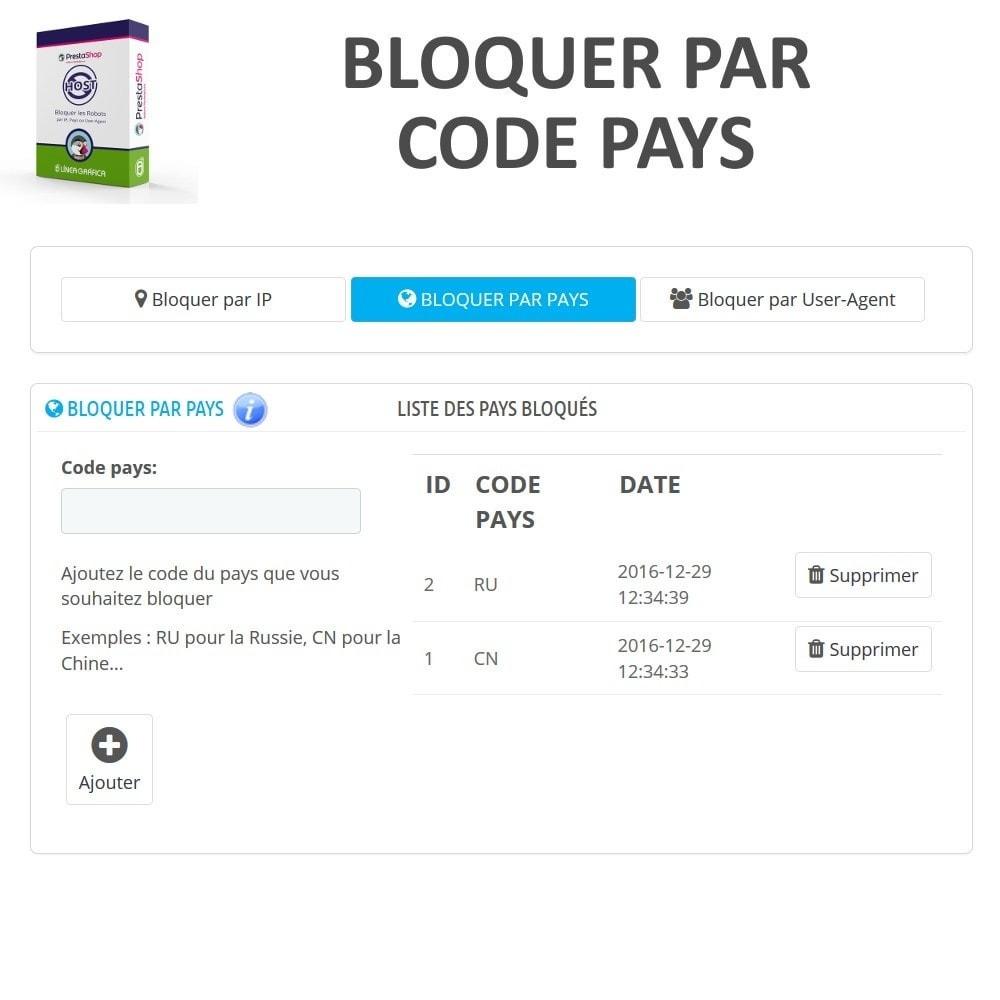 module - Sécurité & Accès - Bloquer Robots / Utilisateurs par IP, Pays, User-Agent - 3