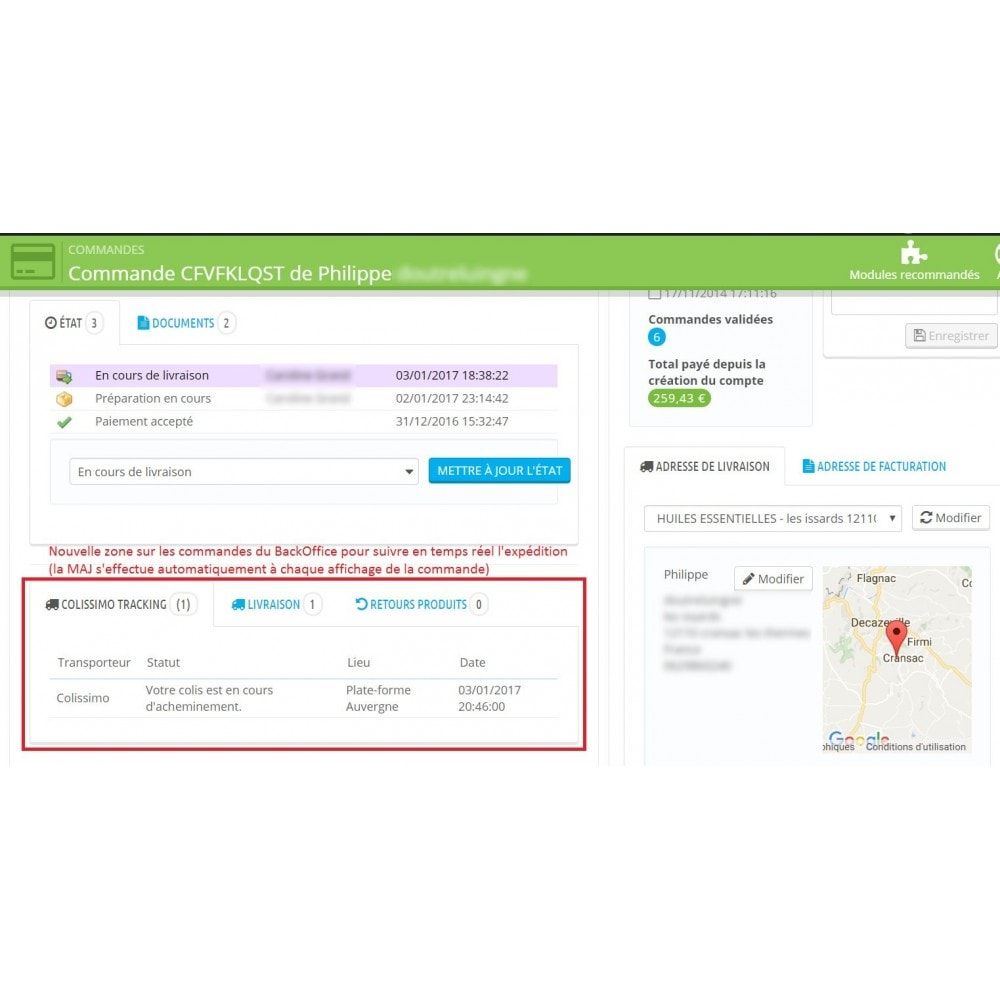 module - Delivery Tracking - Shipping tracking Colissimo / Chronopost / MondialRelay - 1