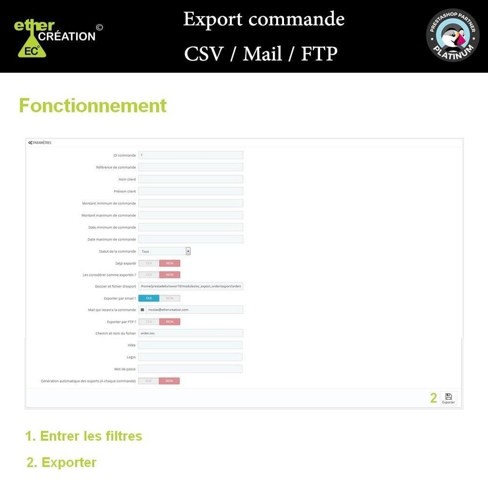 module - Import & Export de données - Export commande CSV / Mail / FTP - 2
