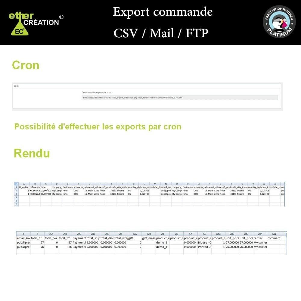 module - Import & Export de données - Export commande CSV / Mail / FTP - 3