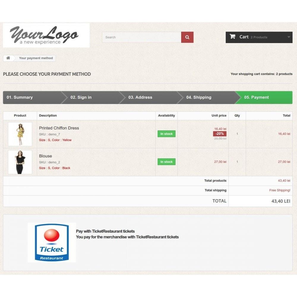 module - Autres moyens de paiement - Ticket Restaurant or Chèque Déjeuner payment gateway - 1