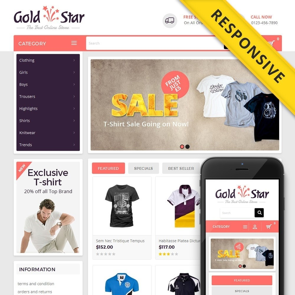 theme - Mode & Chaussures - Gold Star T-Shirt Store - 1