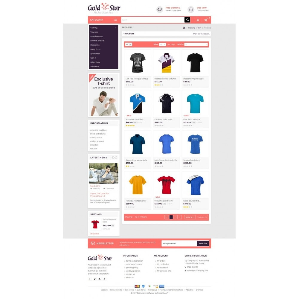 theme - Mode & Chaussures - Gold Star T-Shirt Store - 3