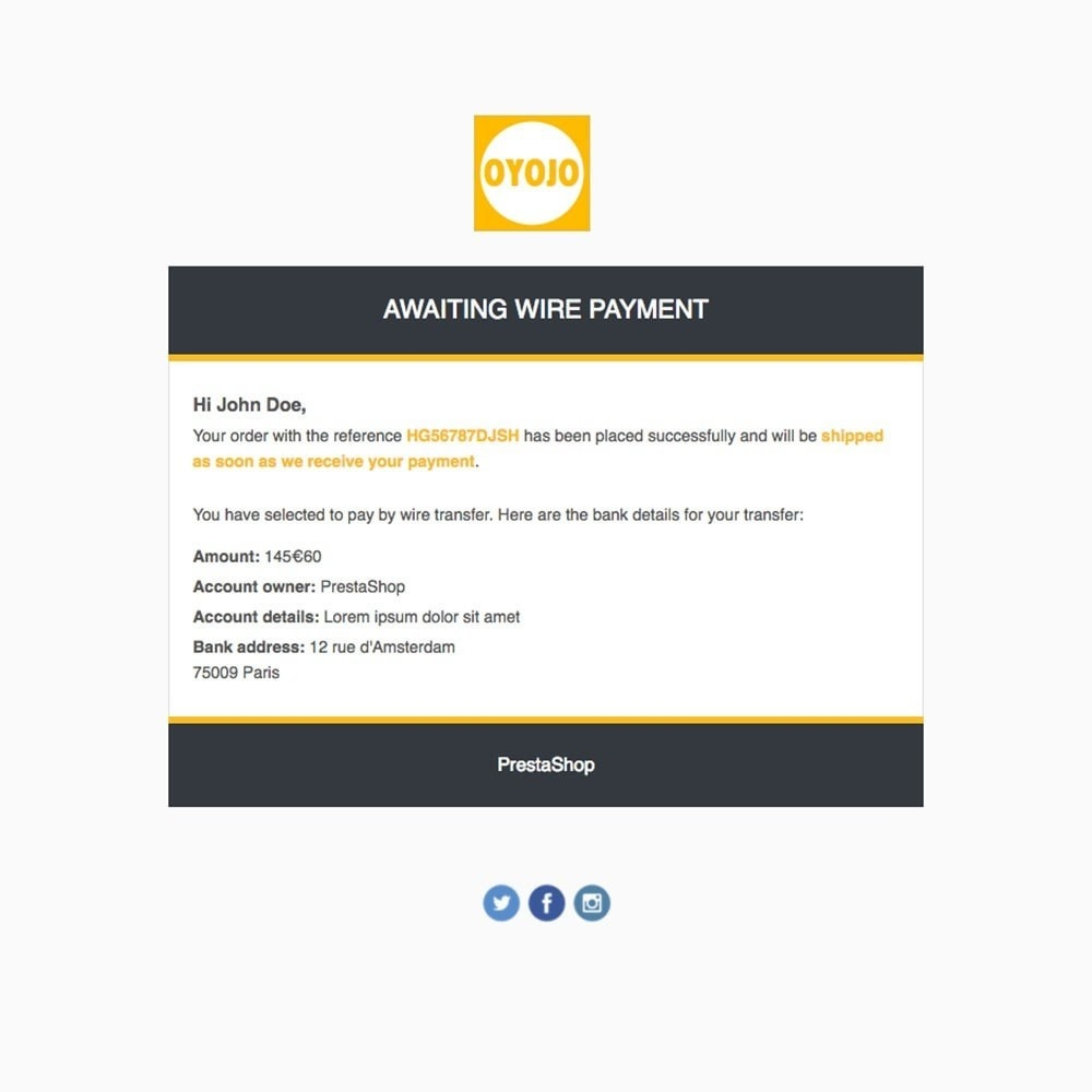 email - Email templates PrestaShop - Oyojo - Email templates - 2