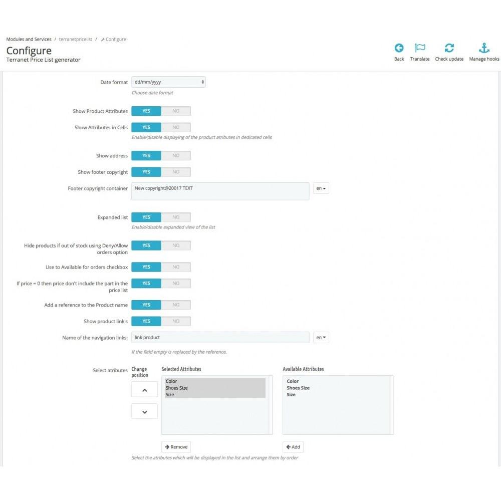 module - Bijkomende Informatie - Price List generator - CSV, XLS, Excel Export - 3