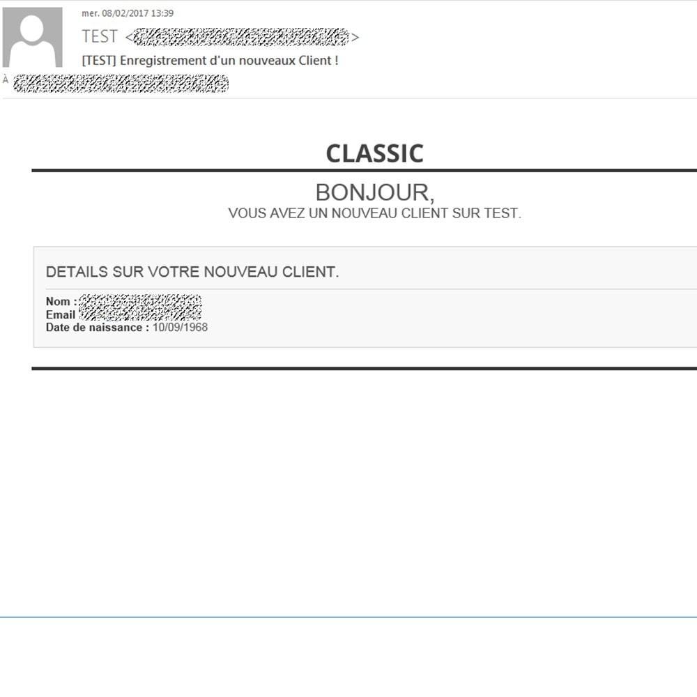 module - E-mails y Notificaciones - Notification when registration of a Customer - 3